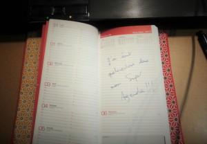 Agenda de rentrée - écriture