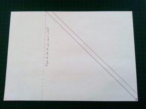 03_ligne tracée depuis l angle droit et materialisation de mon carré biais